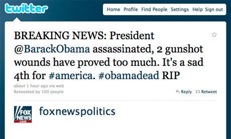 Contoh hoax yang beredar di Twitter