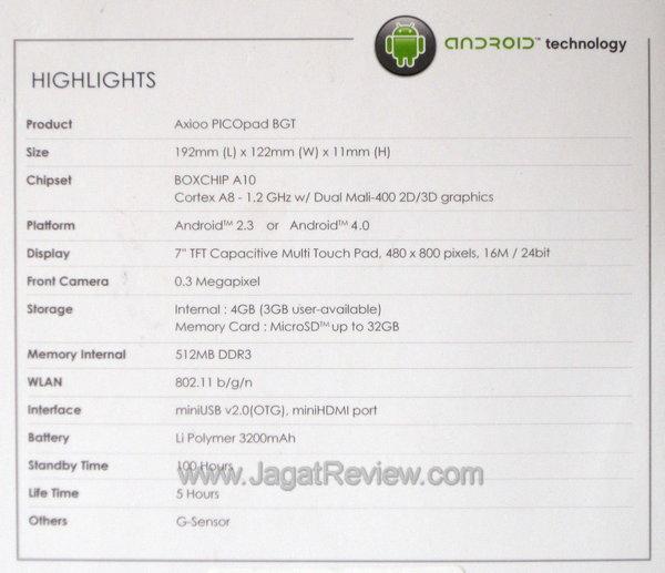 Axioo PicoPad 7 - Spesifikasi