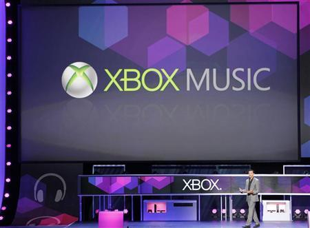 Mehdi introduces XBox Music at Microsoft XBox news briefing during the E3 game expo in Los Angeles