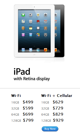 Apple iPad 4th Generation 128 GB Sudah Dipasarkan