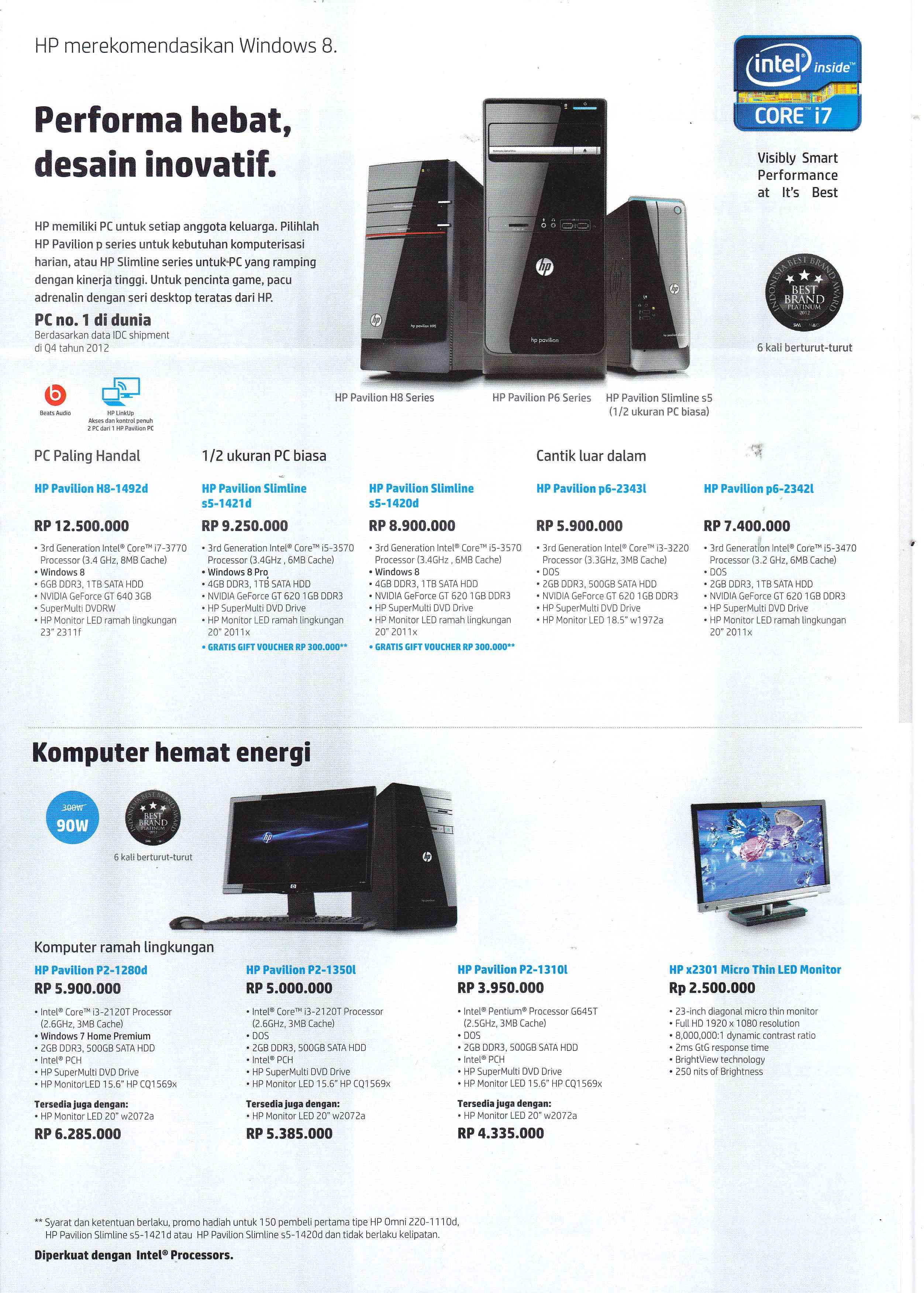 Envy 23 d045d TouchSmart AIO Rp 15 750 000