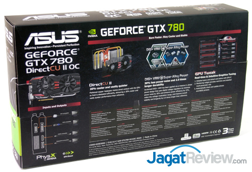 asus gtx 780 dcuii oc back box