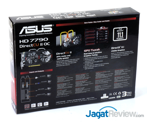 asus hd 7790 dcuii oc back box