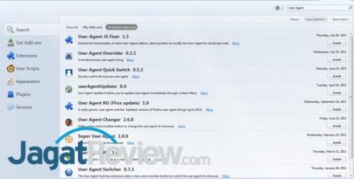 Berbagai add-on yang tersedia di Firefox terkait User Agent.