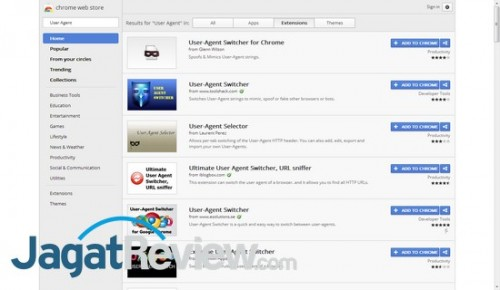 Terdapat banyak add-on untuk mengubah User Agent di Chrome.