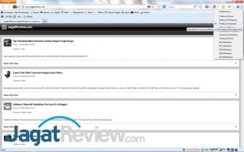 Halaman utama JagatReview saat User Agent diatur ke Firefox/Android.