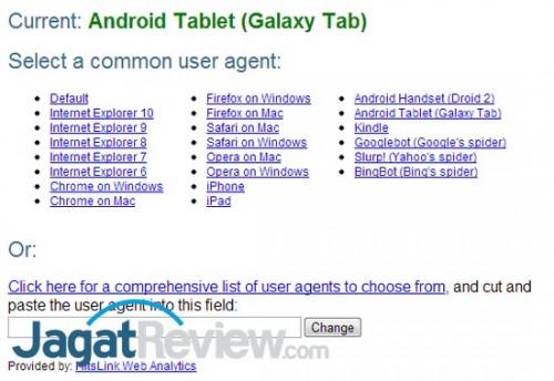 Add-on yang kami gunakan, User Agent Switcher dari ToolShack.com, menyediakan banyak preset User Agent yang bisa digunakan.