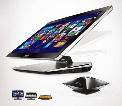 ASUS ET2301-Fold-Flat All-in-One PC at any angle for comfortable 10-point touch control with Windows 8
