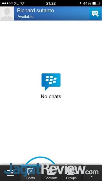 Layar utama aplikasi, berisi daftar chat yang sedang terbuka.