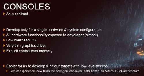 Salah satu slide dari presentasi DICE, yang menunjukkan kelebihan Console dari PC