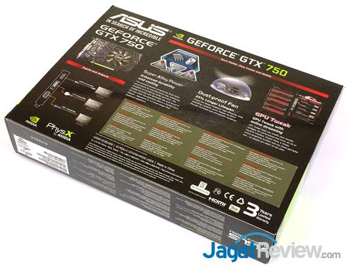 asus gtx 750 oc 1gb back box