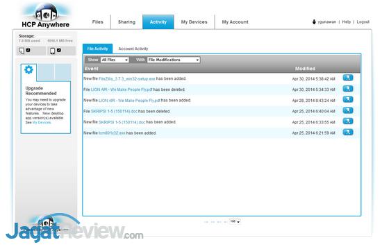 Activity Log untuk melihat aktivitas pengguna juga tersedia.