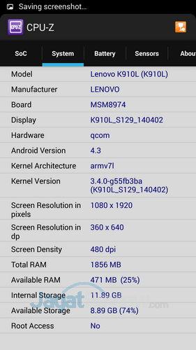 Lenovo Vibe Z - CPUZ SoC