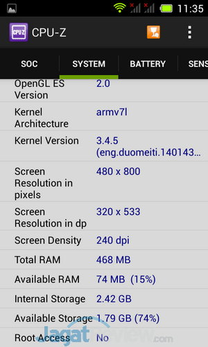 Acer Liquid Z4 CPUZ