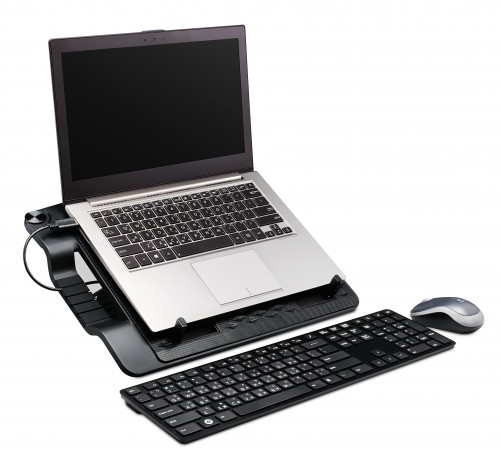 Ergostand III-45 degree right with laptop keyboard mouse