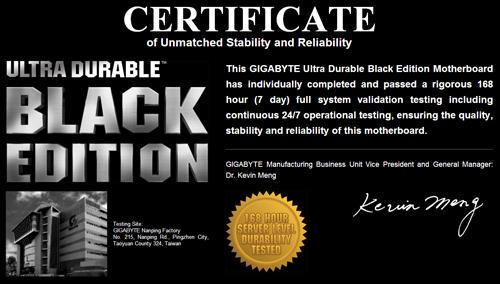 gigabyte computex 2014 ultra durable black certificate