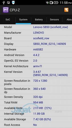 Lenovo S850 - SoC