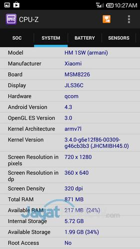 Xiaomi Redmi 1S - CPU-Z SoC