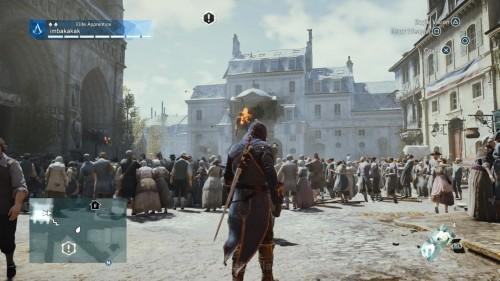 Screenshot AC Unity versi PS4 menunjukkan banyaknya NPC(Non-player Character) pada Unity *klik untuk memperbesar*