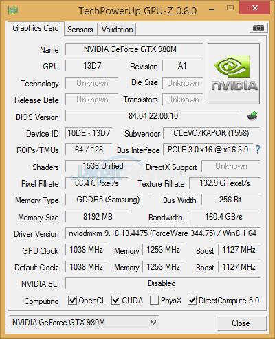 nvidia gtx 980m gpuz