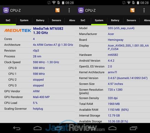 Acer Liquid Jade CPU Z