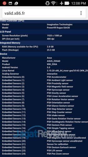 ASUS Zenfone 2 - CPUZ Sensor