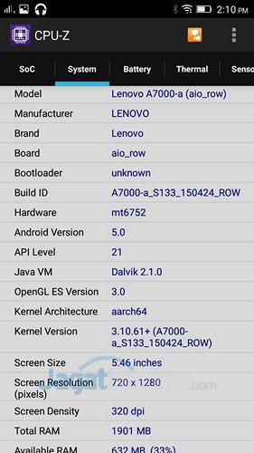 Lenovo A7000 - CPUZ SoC