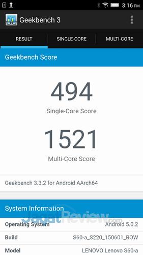 Lenovo S60 Launch - GeekBench