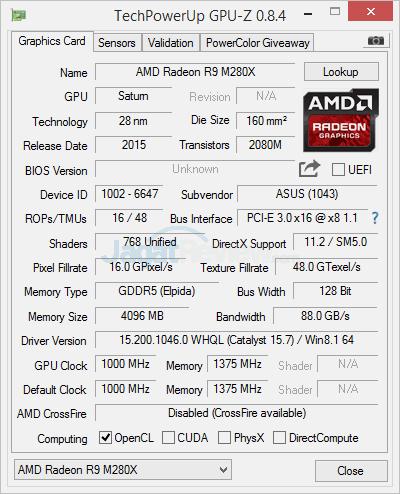 ASUS N551ZU AMD R9 M280X