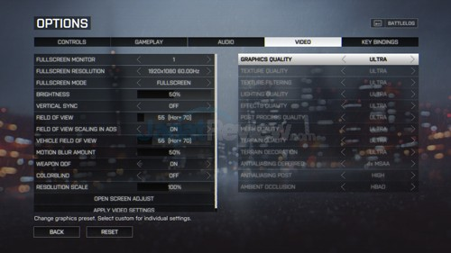 Battlefield 4 Setting Ultra