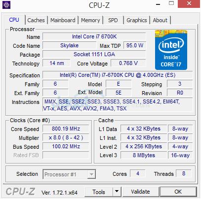 Intel Core i7 6700K CPUZ 02