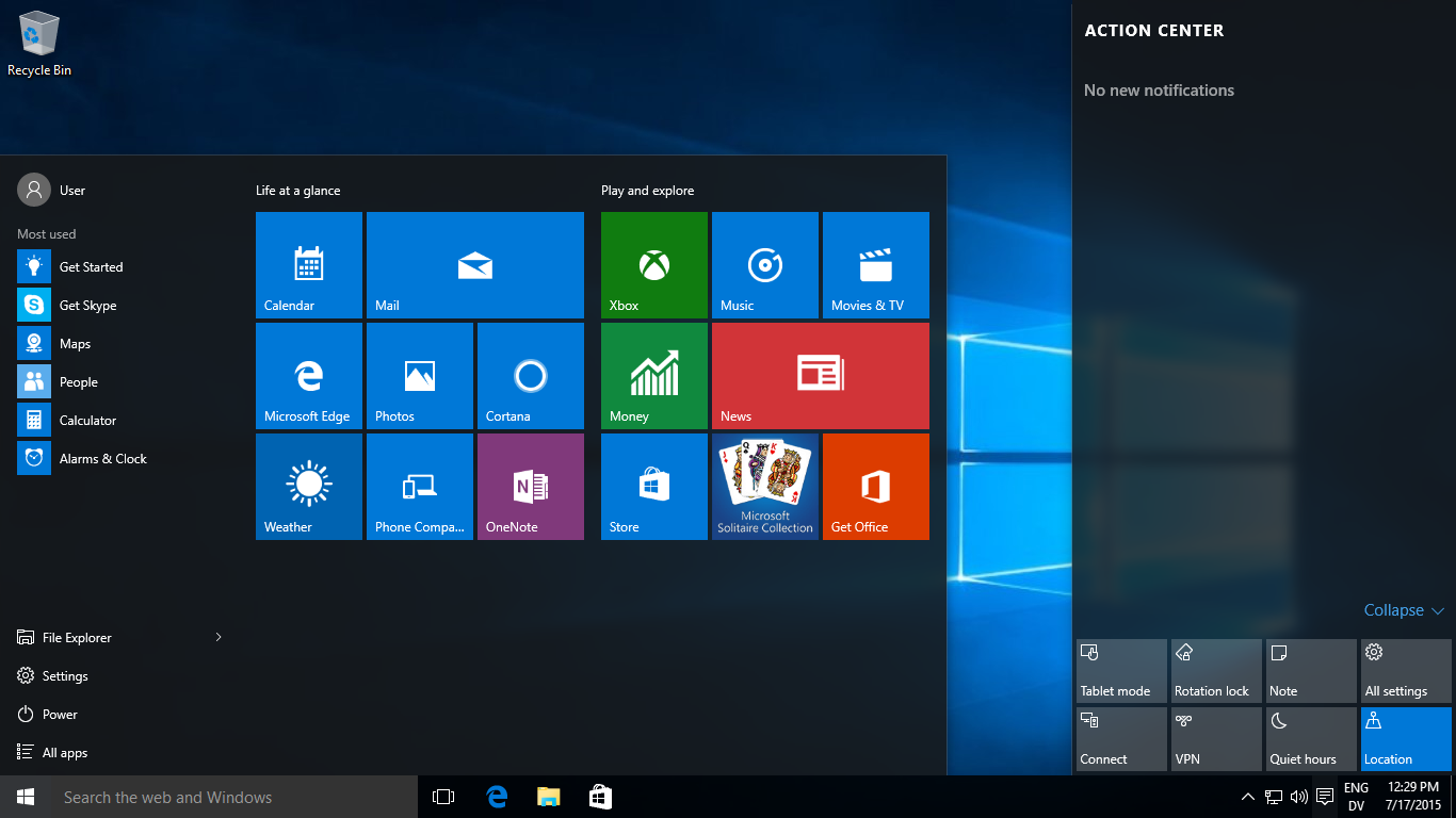 Tampilan Windows 10 Final Full Version (Home & Pro Edition) Official