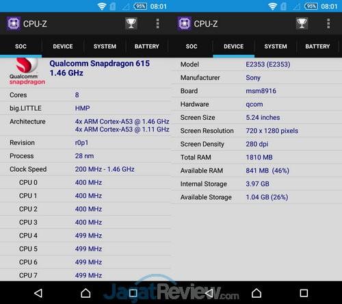 CPU Z Xperia M4 Aqua