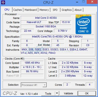 ASUS VivoMini UN62 CPUZ-CPU