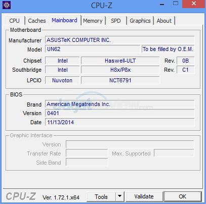 ASUS VivoMini UN62 CPUZ-Mainboard