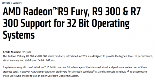 AMD Radeon™R9 Fury, R9 300 & R7 300 Support for 32 Bit Operating Systems