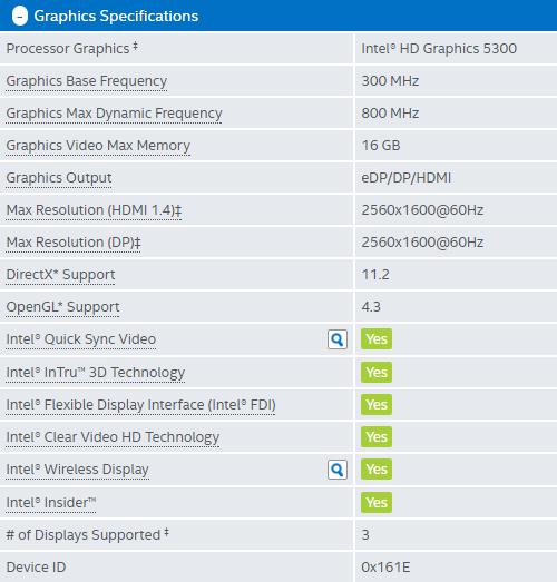 ECS LIVA Core Intel HD Graphics 5300