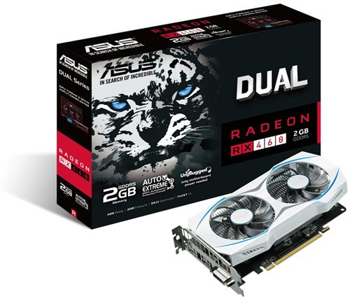 ASUS DUAL RX 460 2 GB 1220 MHz (OC Mode) 1200 MHz (Gaming Mode) 7000