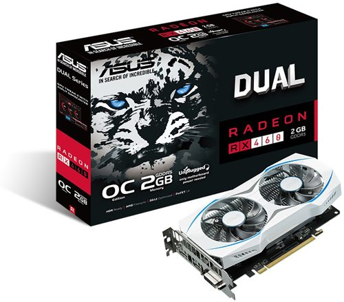 ASUS DUAL RX 460 2 GB OC Edition 1244 MHz (OC Mode) 1224 MHz (Gaming Mode) 7000