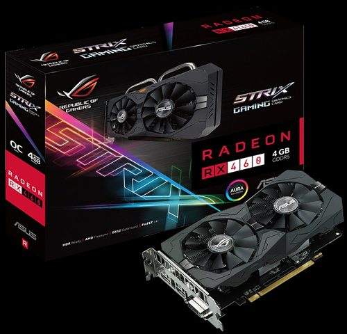 ASUS ROG Strix RX 460 4 GB Gaming OC Edition 1256 MHz (OC Mode) 1236 MHz (Gaming Mode) 7000