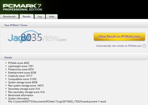 MSI GT73VR 6RE Titan PCMark 7 Details Score (Turbo 40)