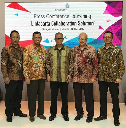 Foto: manajemen Aplikanusa Lintasarta dan Cisco Indonesia saat peluncuran solusi inovatif terbaru Lintasarta Collaboration Solution, Rabu (10/5) di Jakarta.