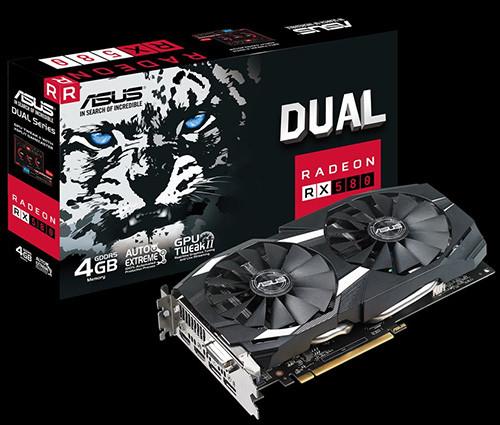 ASUS DUAL RX 580 4 GB Gaming 1340 OC 1360 7000