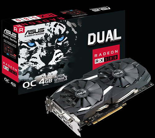 ASUS DUAL RX 580 4 GB OC Edition Gaming 1360 OC 1380 7000