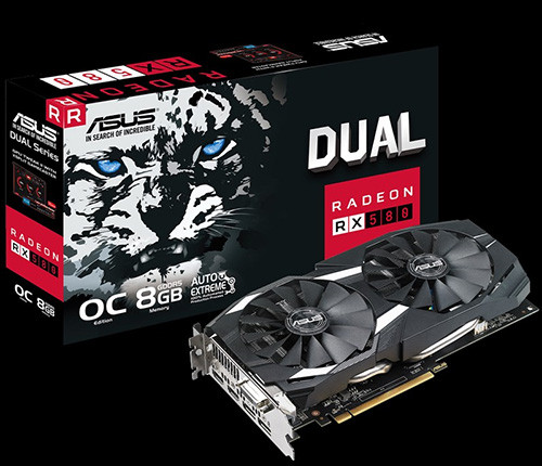 ASUS DUAL RX 580 8 GB OC Edition Gaming 1360 OC 1380 8000