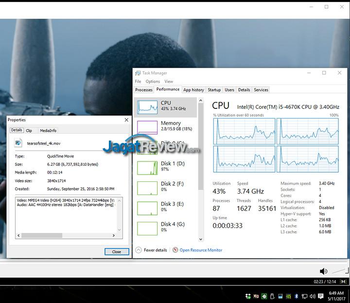 HP Spectre x360 MPCHC 4K QSV Off (Desktop Usage)