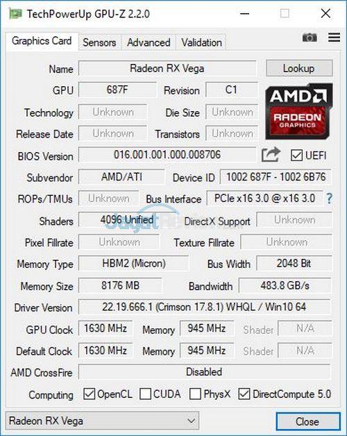 GPU-Z Radeon RX Vega 64