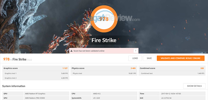 HP 15-bw072ax 3DMark Fire Strike (APU)