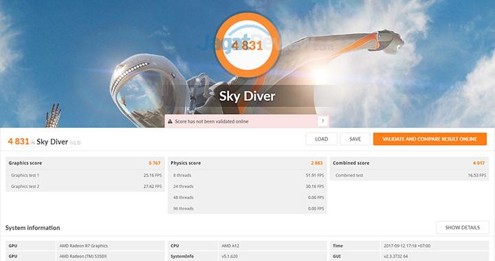 HP 15-bw072ax 3DMark Sky Diver