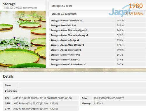 HP 15-bw072ax PCMark 8 Storage